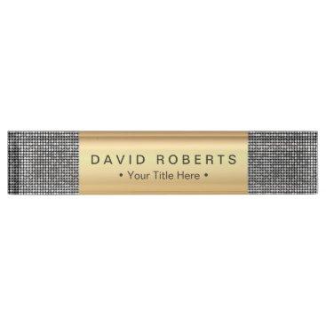 Lawyer Themed Modern Silver Sequins Royal Gold Label Elegant Desk Name Plate