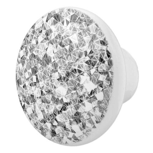 Modern Silver Sparkle Ceramic Knob