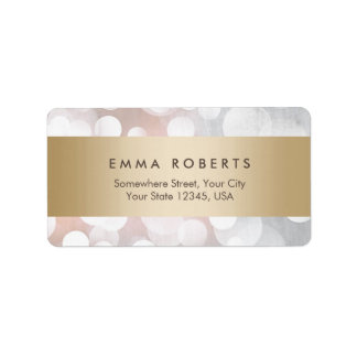 Modern Silver Sparkles Gold Stripe Elegant Label