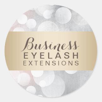 Modern Silver Sparkles Gold Striped Salon Business Classic Round Sticker