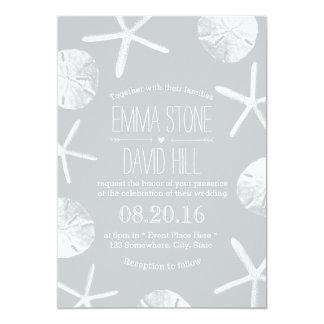 Modern Silver Starfish & Sand Dollar Beach Wedding Card