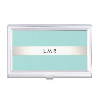 Modern Silver Striped Professional Monogram Aqua Case For Business Cards