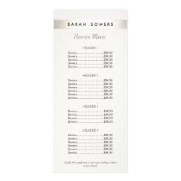Modern Silver Striped Salon White Price List Menu