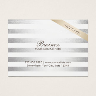 Modern Silver Stripes Chubby Gift Certificates