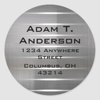 Modern Silver Stripes Return Address Labels Round Stickers