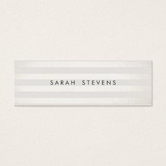 Modern Silver Thin Off White Striped Salon Spa Mini Business Card