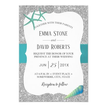 Beach Themed Modern Silver Turquoise Starfish Beach Wedding Card