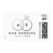 Modern Silver Wedding Rings Invitation Stamp