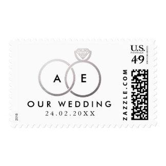 Modern Silver Wedding Rings Invitation Stamp