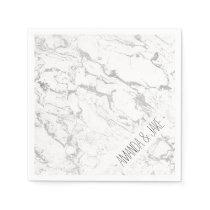 Modern silver white marble pattern paper napkin