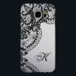 "Modern Silver with Black Lace Custom Monogram Samsung Galaxy S6 Case<br><div class=""desc"">Elegant silver with black lace phone case. With custom monogram. Very classy and elegant,  perfect for the perfect girl.</div>"