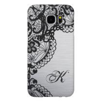 Modern Silver with Black Lace Custom Monogram Samsung Galaxy S6 Case