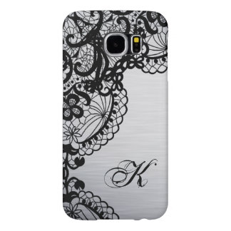 Modern Silver with Black Lace Custom Monogram Samsung Galaxy S6 Case