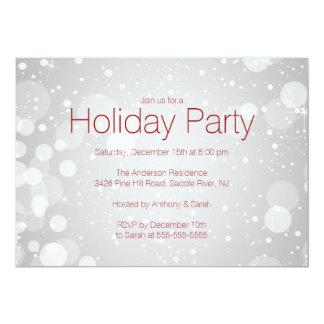 "Modern SilverBokeh Lights Holiday Invitation 5"" X 7"" Invitation Card"