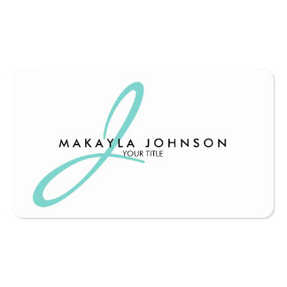 Modern & Simple aqua blue Monogram Professional Double-Sided Standard Business Cards (Pack Of 100)