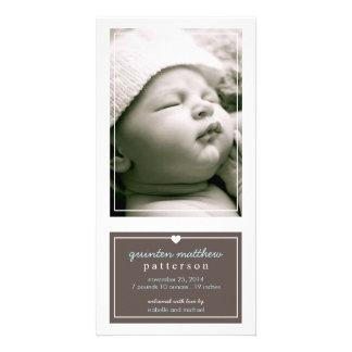 Modern Simple Baby Boy Birth Announcement Brown