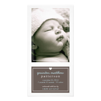 Modern Simple Baby Boy Birth Announcement Brown Photo Card