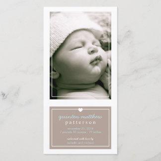 Modern Simple Baby Boy Birth Announcement Tan