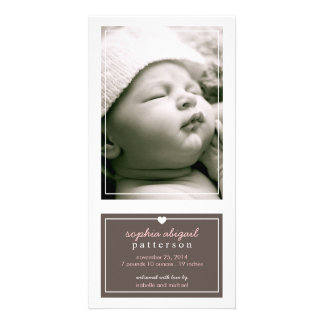 Modern Simple Baby Girl Birth Announcement Brown Customized Photo Card