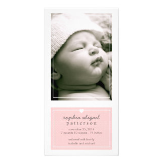 Modern Simple Baby Girl Birth Announcement Pink
