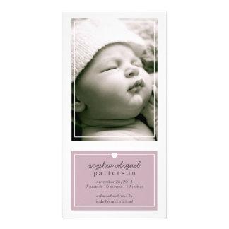 Modern Simple Baby Girl Birth Announcement Purple Photo Card Template