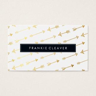 MODERN SIMPLE BADGE trendy arrow pattern gold foil Business Card