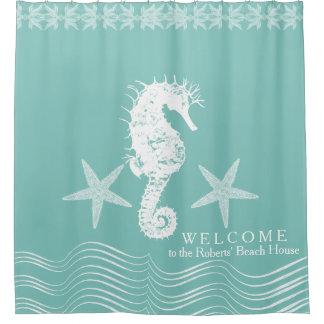 Modern Simple Beach House Ocean Seahorse Starfish Shower Curtain