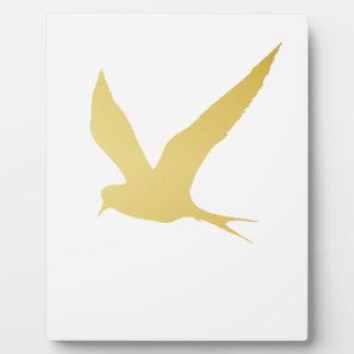 Modern, Simple & Beautiful Hand Drawn Bird in Gold Plaque