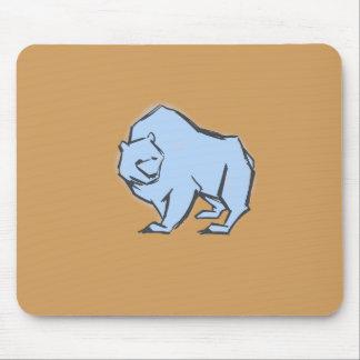 Modern, Simple & Beautiful Hand Drawn Blue Bear Mouse Pad