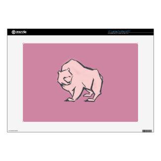 "Modern, Simple & Beautiful Hand Drawn Pink Bear 15"" Laptop Skin"