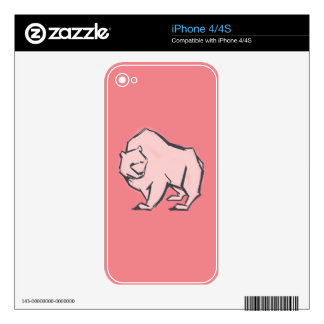 Modern, Simple & Beautiful Hand Drawn Pink Bear Decals For iPhone 4