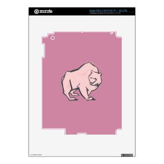 Modern, Simple & Beautiful Hand Drawn Pink Bear iPad 3 Skin