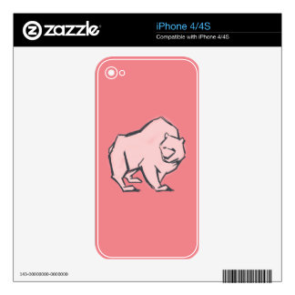 Modern, Simple & Beautiful Hand Drawn Pink Bear iPhone 4S Decal
