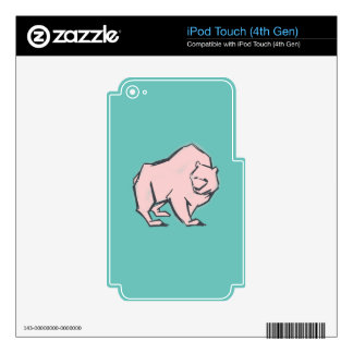Modern, Simple & Beautiful Hand Drawn Pink Bear iPod Touch 4G Skin