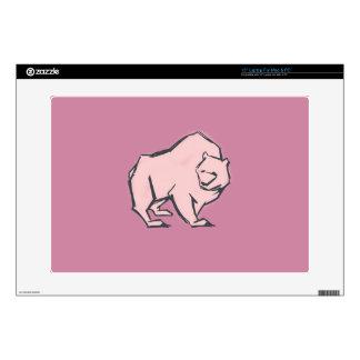 Modern, Simple & Beautiful Hand Drawn Pink Bear Laptop Skin