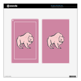Modern, Simple & Beautiful Hand Drawn Pink Bear Skin For Kindle Fire