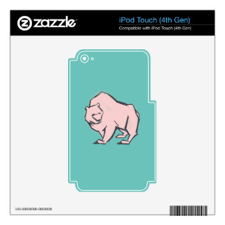 Modern, Simple & Beautiful Hand Drawn Pink Bear Skins For iPod Touch 4G