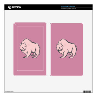 Modern, Simple & Beautiful Hand Drawn Pink Bear Skins For Kindle Fire