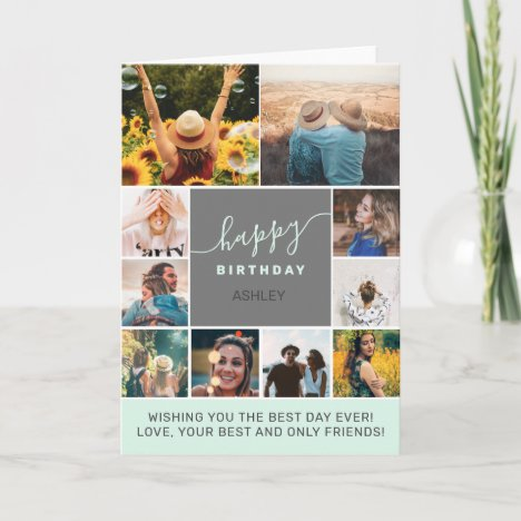 Modern simple birthday teal 10 photo collage grid card