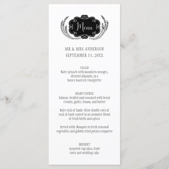 Modern Simple Black and White Menu Cards