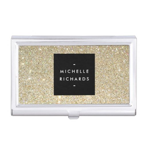 MODERN SIMPLE BLACK BOX GOLD GLITTER Card Holder Case For Business Cards