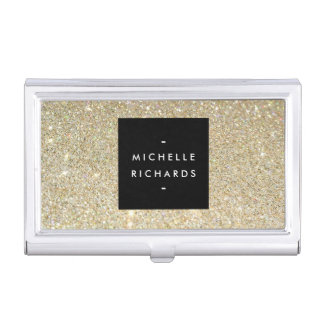 MODERN SIMPLE BLACK BOX GOLD GLITTER Card Holder Business Card Case