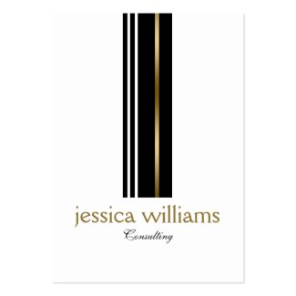 Modern Simple Black & Gold Accent Stripes Large Business Cards (Pack Of 100)