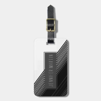 Modern Simple Black Stripes and White Color Block Bag Tag