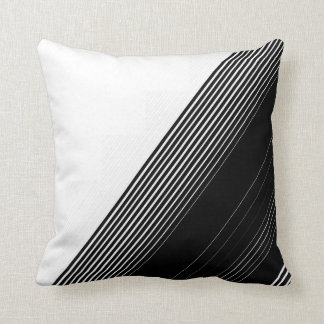 Modern Simple Black Stripes and White Color Block Throw Pillow