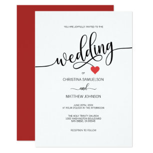 Red Black Wedding Invitations Zazzle