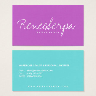 Modern simple bold teal blue purple contrast color business card