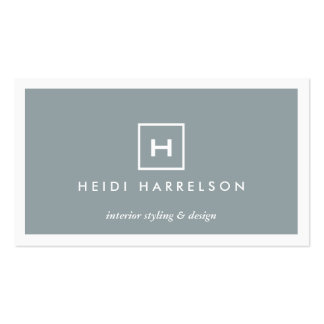 MODERN & SIMPLE BOX LOGO in SLATE BLUE Double-Sided Standard Business Cards (Pack Of 100)