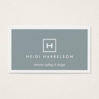 MODERN & SIMPLE BOX LOGO in SLATE BLUE Business Card
