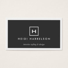 Modern & Simple Box Logo W/ Your Initial/monogram Business Card at Zazzle